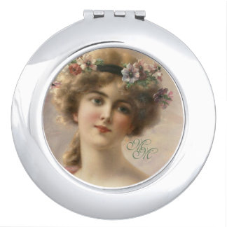 Initials Romantic Nostalgia Vintage Woman Portrait Travel Mirror
