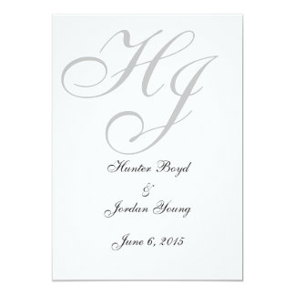 """Initials"" Save the Dates 5"" X 7"" Invitation Card"