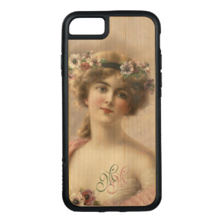 Initials Victorian Nostalgia Vintage Flower Woman Carved iPhone 8/7 Case