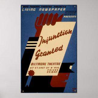 Injunction Granted A1936 Living Newspaper Vintage Poster