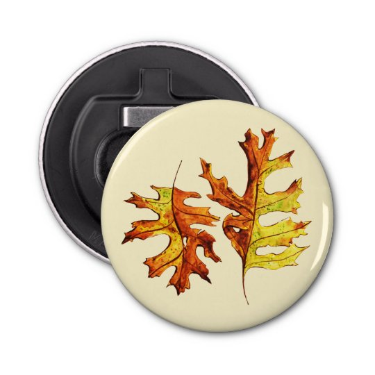 Ink And Watercolor Painted Dancing Autumn Leaves Bottle Opener