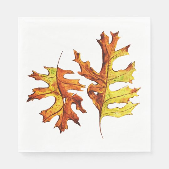 Ink And Watercolor Painted Dancing Autumn Leaves Disposable Napkin