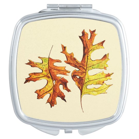 Ink And Watercolor Painted Dancing Autumn Leaves Travel Mirrors