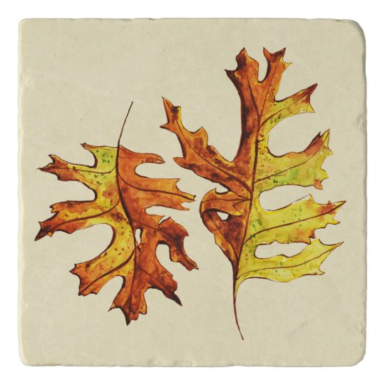 Ink And Watercolor Painted Dancing Autumn Leaves Trivet