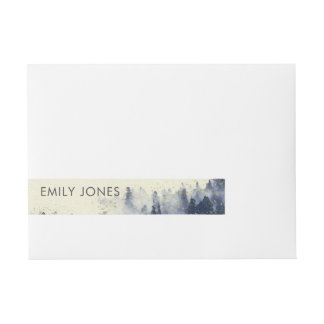 INK BLUE WATERCOLOR LANDSCAPE TREE FOLIAGE WRAPAROUND ADDRESS LABEL