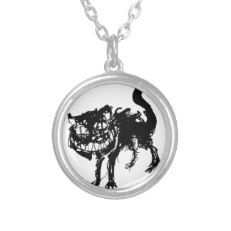 Ink cat silver plated necklace