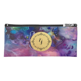 ink colorful purple gold texture pattern paint pencil case
