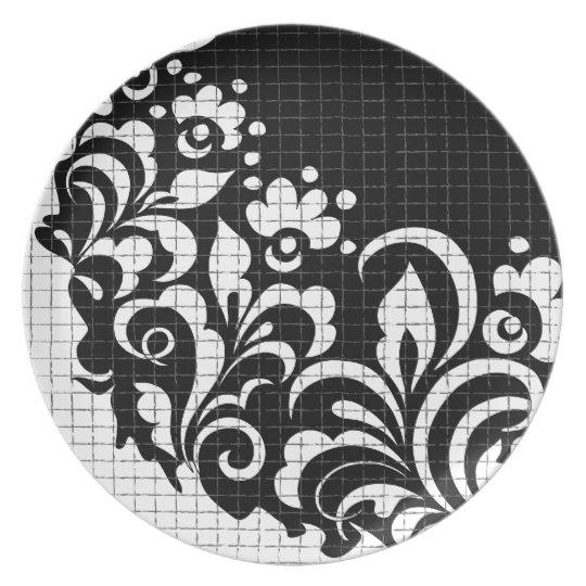 ink flowers plate