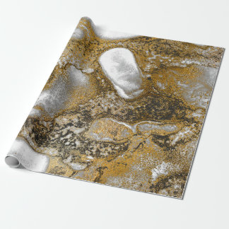 Ink Gold Liquid Paint Gray Bronze Abstract Brown Wrapping Paper