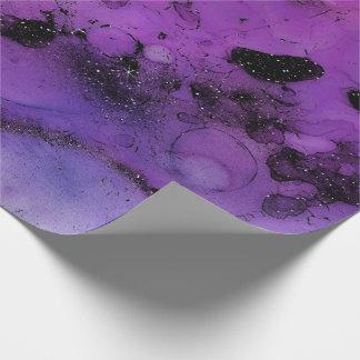 Ink Liquid Paint Urban Amethyst Purple Black Glitt Wrapping Paper