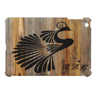 Ink Peacock Wood Plank Personalized iPad Mini Case