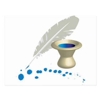 Ink pot with feather and ink splashes postcard