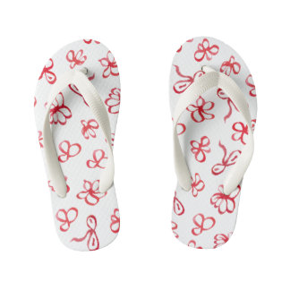 Ink Red Flowers Kids' Flip Flops