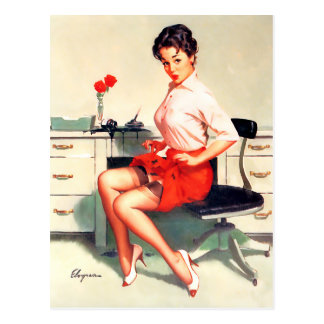 Ink Stain Pin Up Postcard