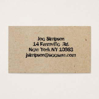 ink stamped business cards