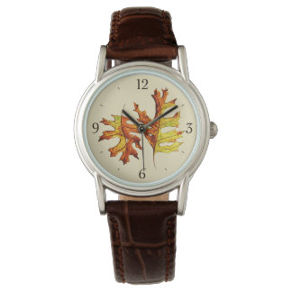 Ink Watercolor Painted Autumn Leaves Nature Lover Watch