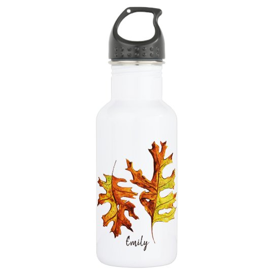Ink Watercolor Painted Dancing Autumn Leaves Name 532 Ml Water Bottle