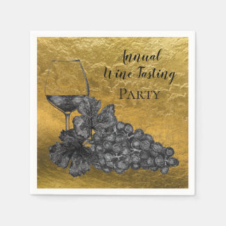 Ink Wine Glass Grapes Gold Background Paper Napkins