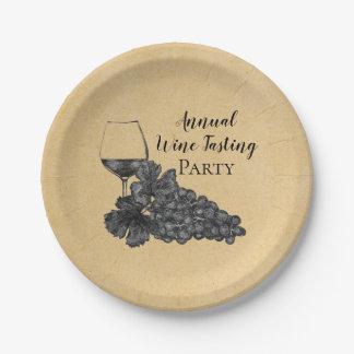 Ink Wine Glass Grapes Gold Background Paper Plate