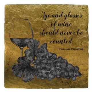 Ink Wine Glass Grapes Gold Background Trivet