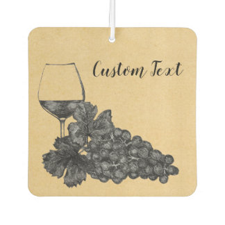 Ink Wine Glass Grapes Old Paper Background Car Air Freshener