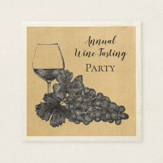 Ink Wine Glass Grapes Old Paper Background Napkin