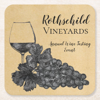 Ink Wine Glass Grapes Old Paper Background Square Paper Coaster