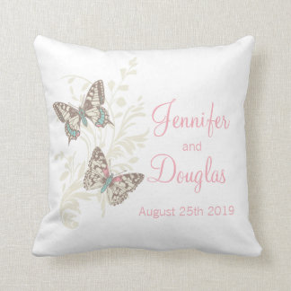 Inked art butterflies personalized wedding pillow