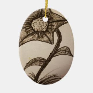 inked flower #1. ceramic ornament