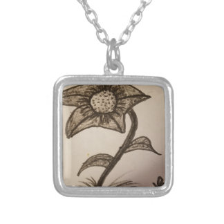 inked flower #1. silver plated necklace