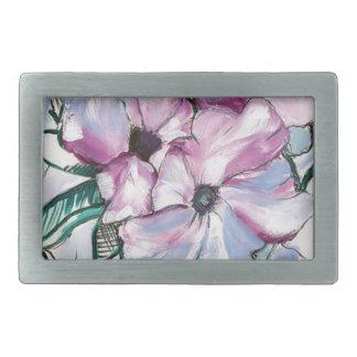 Inked Flowers Rectangular Belt Buckle