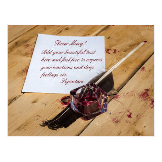 Inkstand, quill and paper customizable postcard