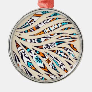 Inky Funky Pattern Art Beige Metal Ornament