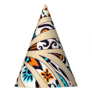 Inky Funky Pattern Art Beige Party Hat