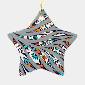 Inky Funky Pattern Art Grey Ceramic Ornament