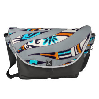 Inky Funky Pattern Art Grey Courier Bag