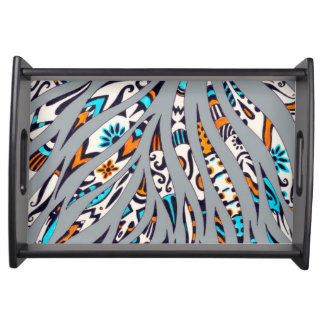 Inky Funky Pattern Art Grey Serving Tray