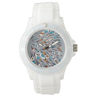 Inky Funky Pattern Art Grey Watch