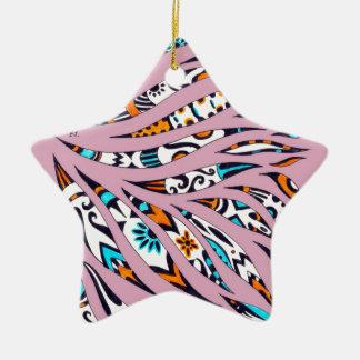 Inky Funky Pattern Art Pink Ceramic Ornament