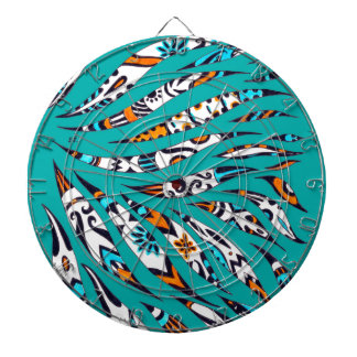 Inky Funky Pattern Art Teal Dartboard