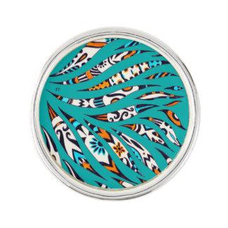 Inky Funky Pattern Art Teal Lapel Pin