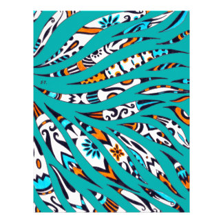 Inky Funky Pattern Art Teal Letterhead