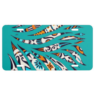Inky Funky Pattern Art Teal License Plate