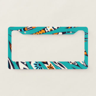Inky Funky Pattern Art Teal License Plate Frame