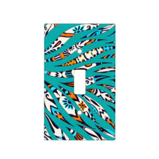 Inky Funky Pattern Art Teal Light Switch Cover