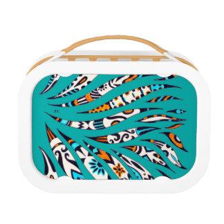 Inky Funky Pattern Art Teal Lunch Box