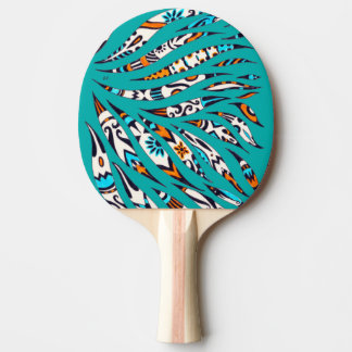 Inky Funky Pattern Art Teal Ping Pong Paddle