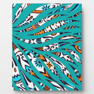 Inky Funky Pattern Art Teal Plaque