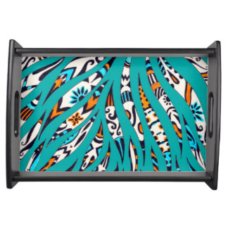 Inky Funky Pattern Art Teal Serving Tray