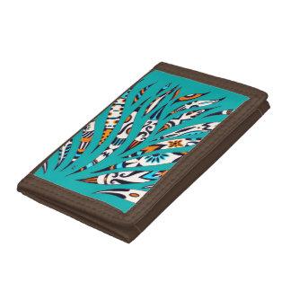 Inky Funky Pattern Art Teal Trifold Wallet